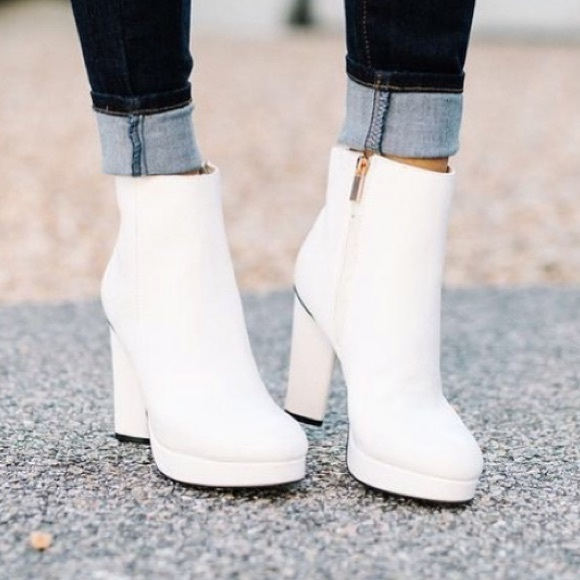 62b22692dac Bamboo White Block Heel Ankle Booties Boutique
